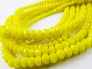 BeadsOne 4mm - 90 pcs - Glass Rondelle Faceted Beads Yellow Matte for jewerly Making findings Handmade jewerly briolette Loose Beads Spacer Donut Faceted Top Quality 5040 (C73)