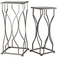UTC25833 Metal Accent Table with Mirror Top and Square Base Set of Two Coated Finish Champagne