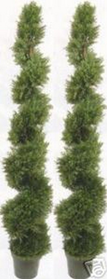 Two 6 Foot 4 Inches Artificial Cypress Spiral Topiary Trees Potted Indoor or Outdoor