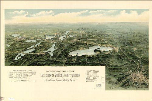 Poster Map Of Oconomowoc, Waukesha Wisconsin 1890 Antique Reprint