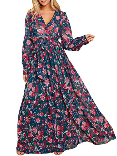 Ybenlow Womens Boho Floral Chiffon Deep V Neck Wrap Long Sleeve Flowy Party Maxi Dresses with Belt Dark Green