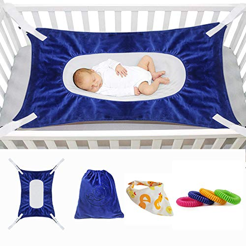 Baby Hammock for Crib New Upgrade, Mimics Womb Soft and Comfortable Material with Strong Adjustable Straps Newborn Hammock (Dark Blue)