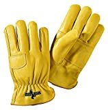 Galeton 2502-L 2502 Rough Rider Double Palm Premium Leather Gloves, Elastic Back, Large ,Gold (Pack of 12)