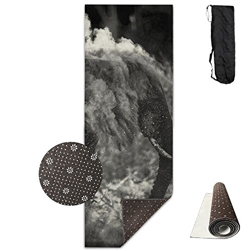 Non Slip Yoga Mat Elephant In Sand Premium Printed 24 X 71 Inches Great For Exercise Pilates Gymnastics Carrying -
