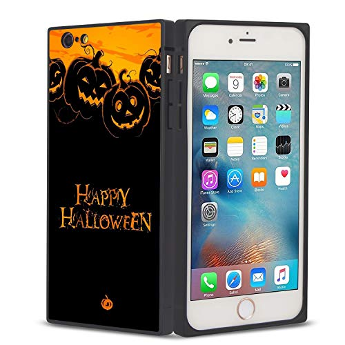 iPhone 6/6S Plus Case Pumpkin Happy Halloween Design, Rectangle Full Body Shockproof Protective Phone Case, Hard Plastic, Black Frame Case for iPhone 6/6S Plus -