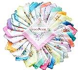 vintage handkerchiefs - COCOUSM Womens Vintage Floral Print Cotton handkerchiefs Bulk