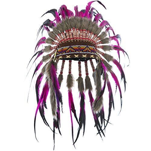 KIDS SIZE Feather Headdress - Adjustable - Indian Inspired - Pink Rooster