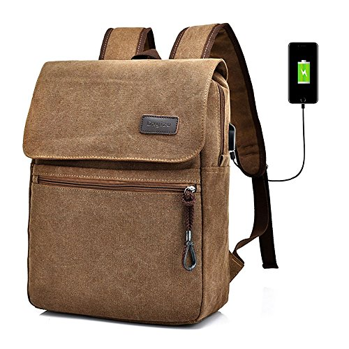 Canvas Backpack Laptop Backpack Hiking Rucksack Middle Student Backpack with USB Charging Port Big Capacity 36~55 L Casual Zipper Backpack ( Khaki )