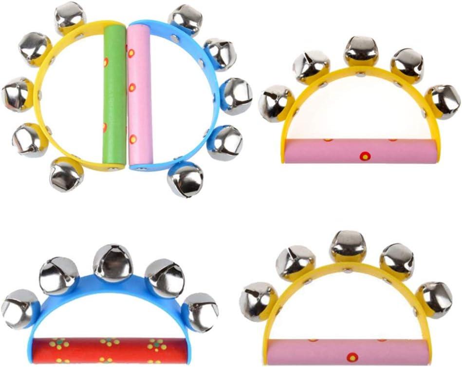 Baby Kids Wooden Handle 10 Bells Jingle Stick Shaker Sensory Rattle Toys Cr F1M5