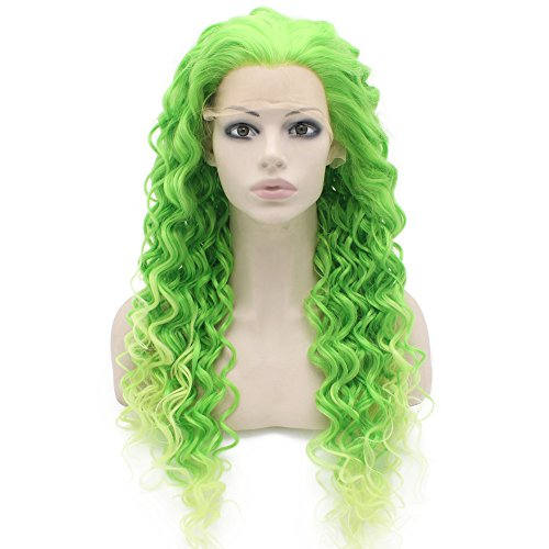 [Two Tone Green Curly Lace Front Synthetic Wig Natural Stylish Fiber Green Curly Wig At Mxangel] (Lime Green Wigs)