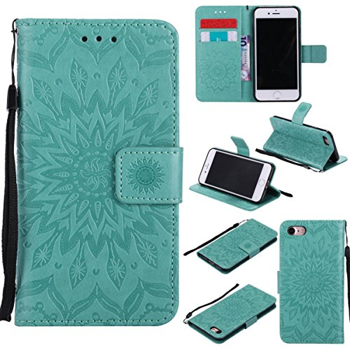 iPhone 7 Case,Durable PU Leather Kickstand Wallet Cover with Inner Silicone Bumper Cover Full Protective Flip Folio Cover with Wrist Strap Xmas Birthday Gift for Apple iPhone 7 -Sunflower Green ()