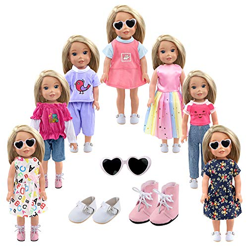 Shoes Doll Clothes - YIQIHAI 13PCS 14 Inch and 14.5 Inch Dolls Clothes Set, 7 Sets of Doll Clothes and 2 Pairs of Shoes Doll Sunglasses Pink Purple Theme for Birthday Gifts to Kids