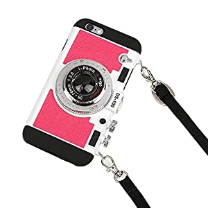 Awsaccy(TM) Fashion 3D Camera Design Case PC + Silicone Cover Case with Detachable Shoulder Strap Neck Strap