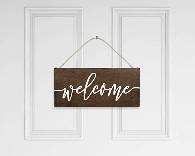 WELCOME Door Wall Sign  Rustic Green /& Gold Colored Distressed Hanging Welcome Sign