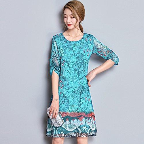 Y Suelto Chiffon El green En Code Vestido ZHUDJ Sello Largo Dress Ow6Eq71yTf