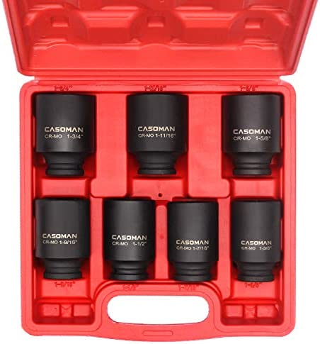 "CASOMAN 1/2-Inch Drive Deep Spindle Axle Nut Impact Socket Set, 1/2"" Drive Deep Impact Socket Set, Inch, Cr-Mo, 6-Point, 1-3/8-Inch - 1-3/4-Inch, 7 Piece Axle Socket Set"