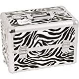 Professional Cosmetic Makeup Case with Divider and Interchangeable Easy Slide Tray Color: White Zebra, Bags Central