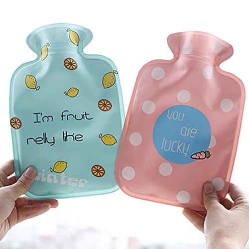 MSYOU - 1 botella de agua caliente con diseño de dibujos animados y bolsa de agua caliente, calentadores de manos de invierno para mujeres y niñas, ...