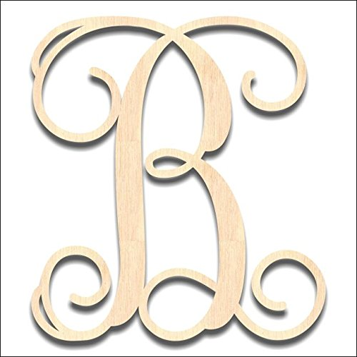 Back40Life Laser Cut Vine Wood Monogram Letter - 19.5-inch unfinished B by Back40Life
