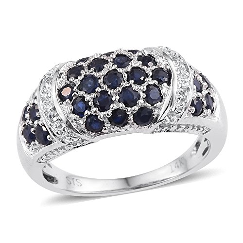Sapphire Platinum Ring (Platinum Plated 14K White Gold Blue Sapphire, Zircon Ring For Women 1.1 cttw. Size 7)