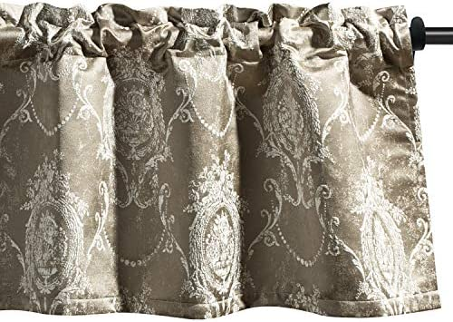 VOGOL Valances for Living Room, Elegant Jacquard Window Valances 52 Inch Wide by 18 Inch Long Rod Pocket Valance Curtain Panels for Small Window, One Piece