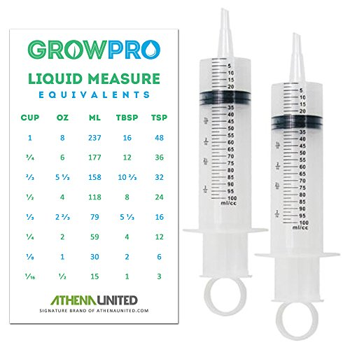 Graduated Advanced Measuring Garden Nutrients Syringe (100 cc/ml, 3.4 oz) 10-Pack - General House/Kitchen/Gardening/Hydroponics Liquid Measure