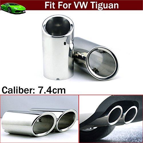New 2Pcs stainless steel chrome tail muffler tailpipe exhaust pipe For Tiguan 2012 2013 2014 2015 2016 2017 2018