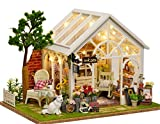 Wooden Doll House Miniature DIY House Kit Creative Room Great Gift for Lovers, Friends and Kids (Sunny Greenhouse)