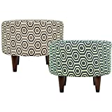 MJL Furniture Designs Sophia Collection Cott Ashton Series Contemporary Round Ottoman, Tan/Gray Brown/Wooden Legs