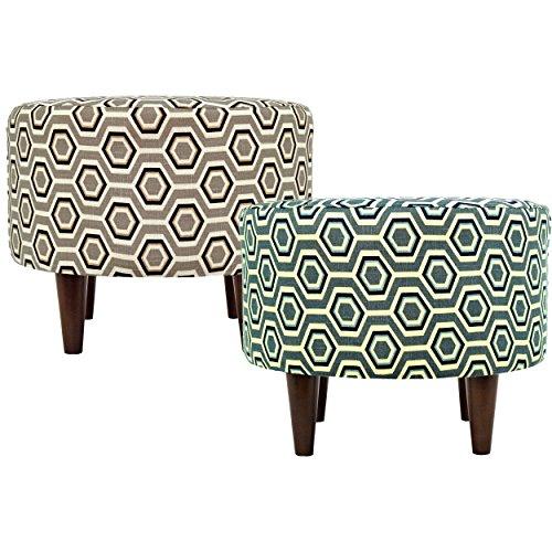MJL Furniture Designs Sophia Collection Cott Ashton Series Contemporary Round Ottoman, Tan/Gray Brown/Wooden Legs by MJL Furniture Designs