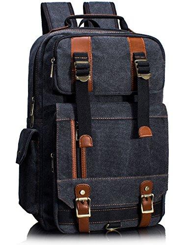 Vintage Canvas Laptop Backpack School College Rucksack Bag (Black) - 9