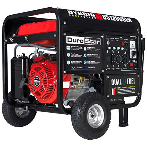 DuroStar DS12000EH Dual Fuel Portable Generator-12000 Watt Gas or Propane Powered-Electric Start- Home Back Up & RV Ready, 50 State Approved
