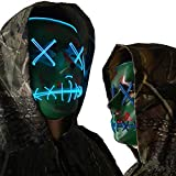 Halloween Mask Cosplay LED Glow Scary EL Wire Light Up Grin Masks for Festival Parties Costume