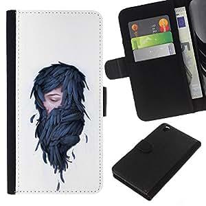 NEECELL GIFT forCITY // Billetera de cuero Caso Cubierta de protección Carcasa / Leather Wallet Case for HTC DESIRE 816 // Mujer en plumas - Pop Art
