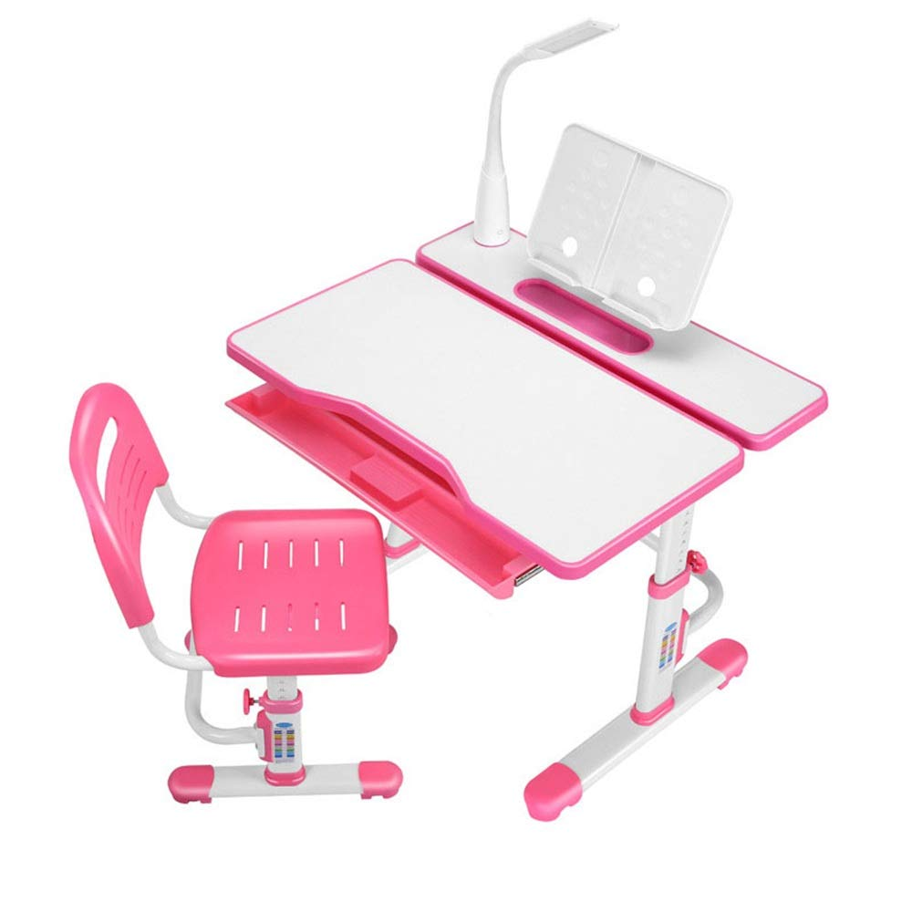 Limaomao-Home Kids' Desks Desk Chair Set Multi-Functional Childen Kids Study Table Desk and Chair Set School Student Desk Book Stand Height Adjustable That Make Doing Homework More Fun (Color : Pink) by Limaomao-Home