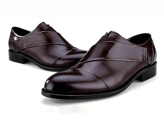 ee3b0c41b469 Homme Classique Commercial Leather Chaussures en Cuir pour Hommes  Confortable personnalité Pointue Style Britannique Homme Cuir (Couleur    Café Couleur