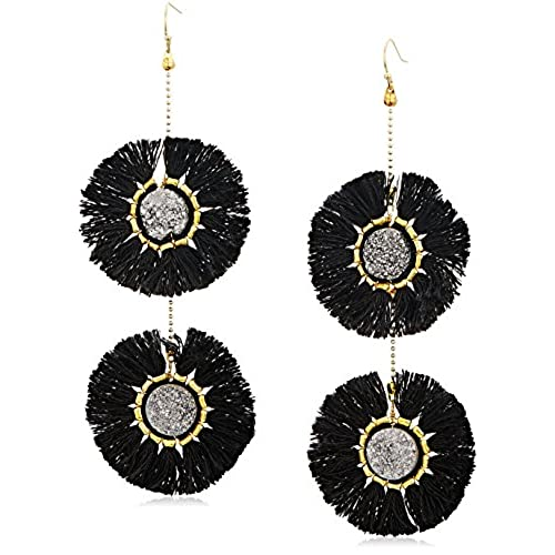 cheap Panacea Silver Drusy Black Fringe Circle Drop Earrings