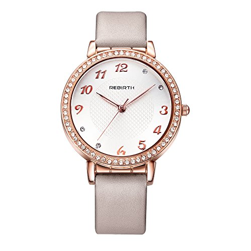 Bosymart Women's Rose Gold-Tone Crystal White Dial Analog Quartz Leather Strap Watch ()