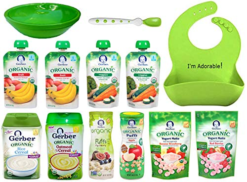Gerber Toddler Bib - Gerber ORGANIC Baby Food Variety Pack. Ultimate Baby Gift Basket: Cereal, Puffs, Yogurt Melts, Food Pouches + Spoon, Bowl, Waterproof Silicone Bib, Gift Box For Babies, Crawlers and Toddlers Bundle of