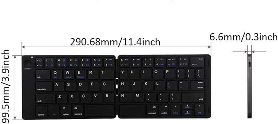 DevileLover Portable Foldable Bluetooth Keyboard 64 Scissor Button Magnetic Folding Ultra-Slim Flexible Keyboard Long Battery Life Compatible for iOS Android Windows with Velvet Bag