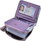 Beurlike Women's RFID Credit Card Holder Organizer Case Leather Security Wallet (Purple2)