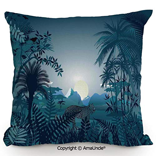 (AmaUncle Decorative Square Throw Pillow Case with Cotton and Linen,Night in Rainforest Jungle with Wild Tiger Moon Light Palm Shrubs Hazy Graphic,W16xL16 Inches,Modern Design with 3D Printed Soft and)