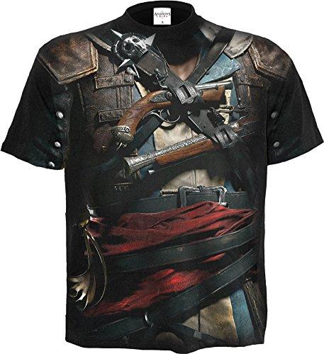 Spiral - Mens - Assassins Creed IV Black Flag - Allover Licensed T-Shirt Black - XXL
