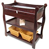 Sleigh-Style Changing Table with Drawers - Cherry