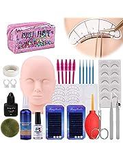 Wimperverlenging Training Mannequin Head Set, [Opgewaardeerd] MYSWEETY Makeup Practice Kit met Mannequin Cosmetology Artist Doll Head, Valse Wimpers Wnten met Lijm