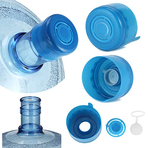 5PCS 55mm 3 and 5 Gallon Non-Spill Caps,Replacement Water Bottle Snap On Cap Anti Splash Peel 5 Piece