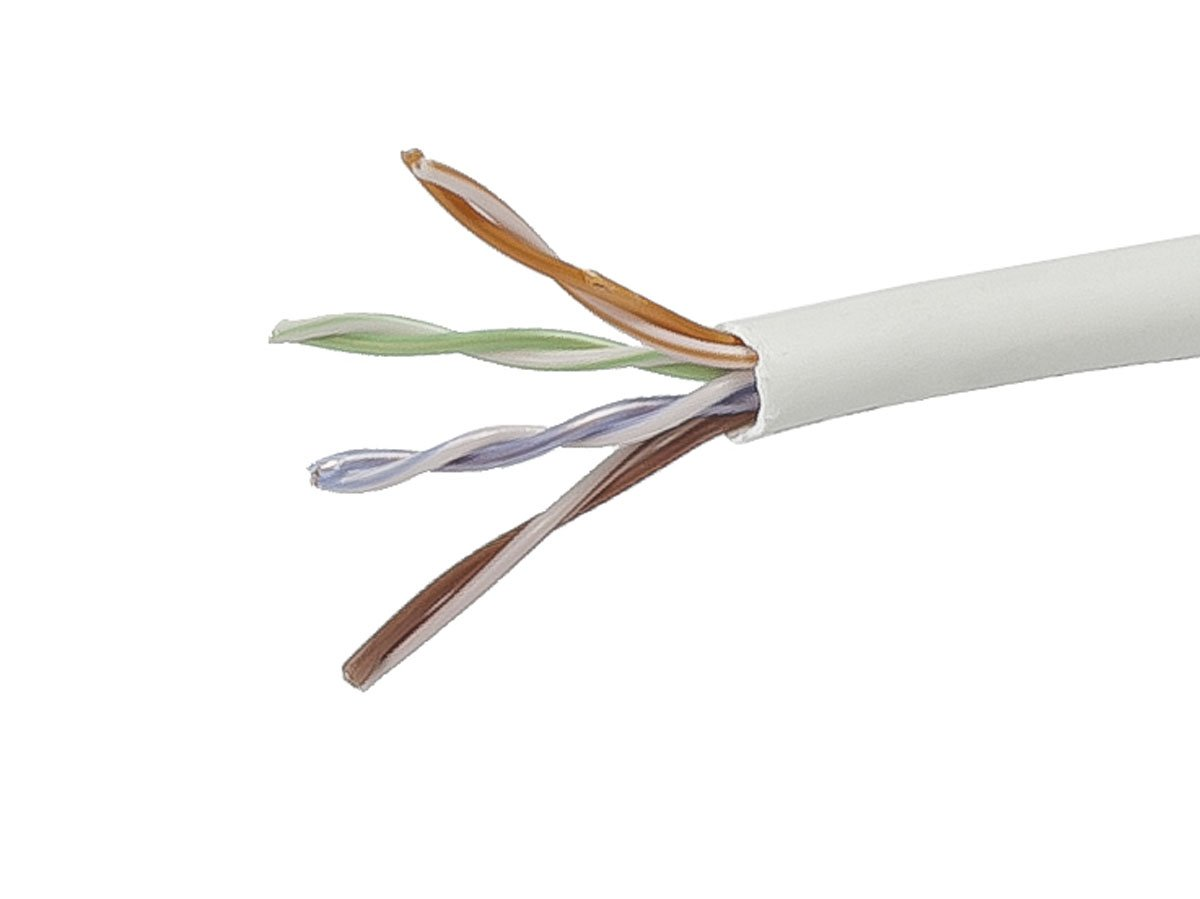 Cat5e Plenum 1000FT Solid Copper UL Listed Cable White