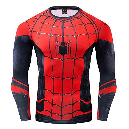 GYm GaLa Men's Compression Sports Fitness Shirt, Spider-Man Long Sleeve Classic Logo T-Shirt (3XL, Far from Home) - Eye Chart Soccer T-shirt