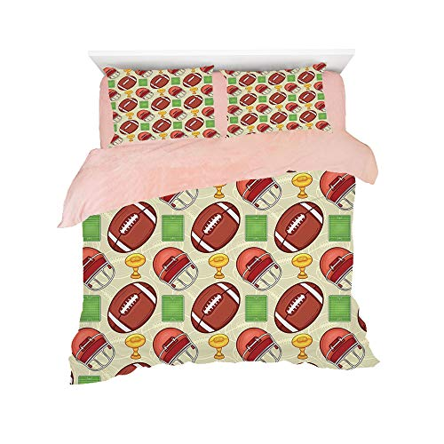- Flannel 4 pieces on the bed Duvet Cover Set 3D printed for bed width 4ft Pattern Customized bedding for girls and young children,Football,Equipment Icons Arena Helmet Ball Trophy Cup Winning the Champ