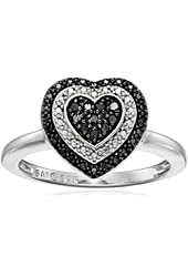 Sterling Silver 1/10cttw Black Diamond Heart Ring, Size 7